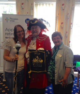 Jane Clark and Isabel Dodds with with David M Squire, the Poole Town Crier - he has been the Town Crier for 58 1/2 years!